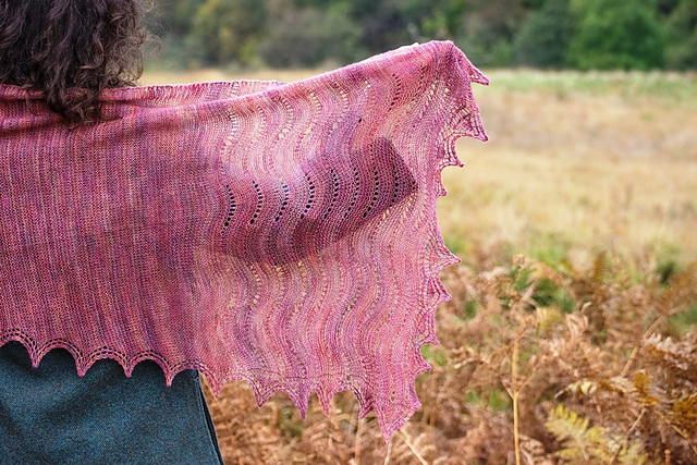 All the colours in the landscape picked up in Ysolda's Inchgarvie shawl - © Jeni Reid